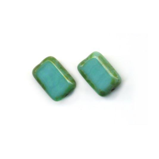 Glass Rectangle Post Earrings, Sterling Silver, Turquoise .- Stefanie Wolf