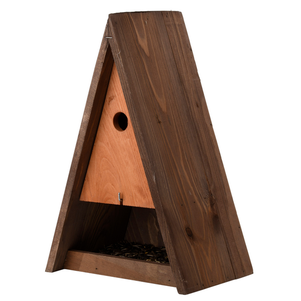 Triangle Bird House with Feeder