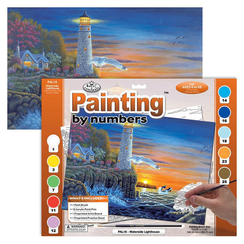 Waterside Lighthouse Paint by Numbers - Large