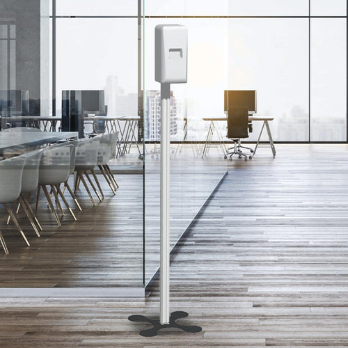 Panoramic pole with automatic hand sanitizer dispenser
