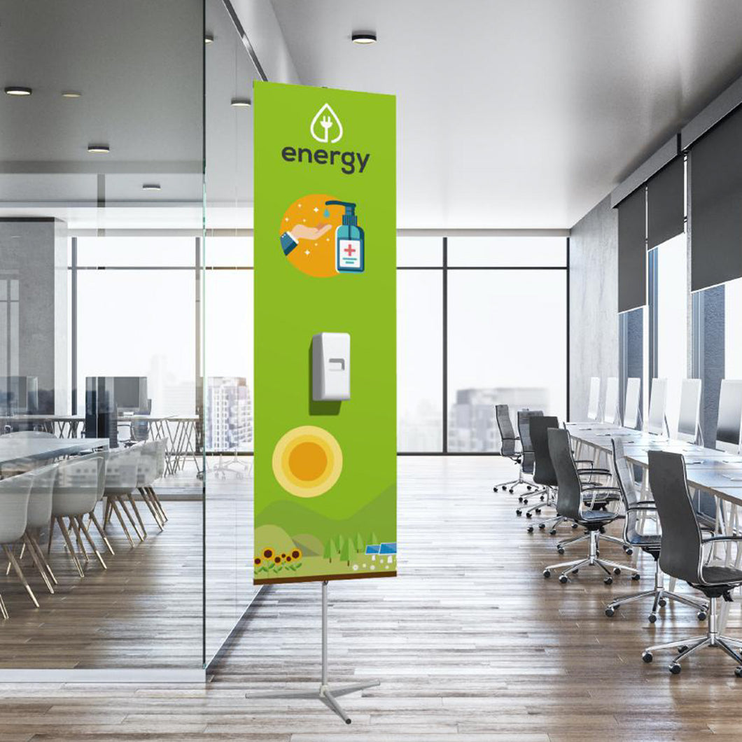 Sprint banner with automatic hand sanitizer dispenser