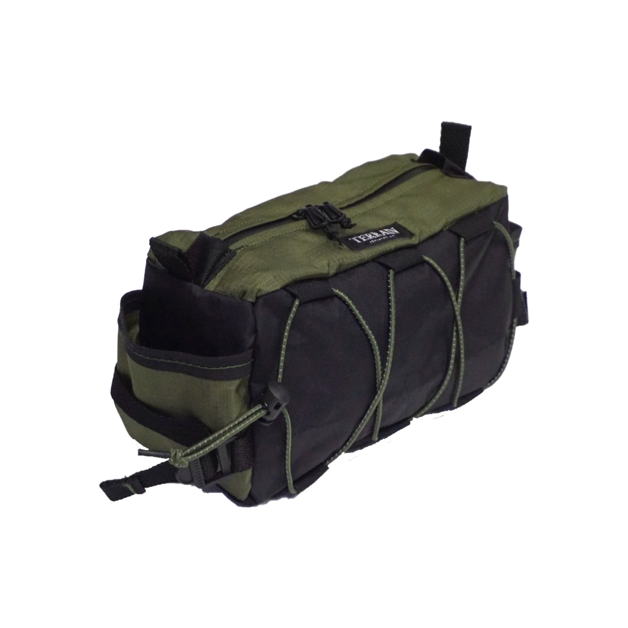 olive and black bar caddy bag 3/4 front