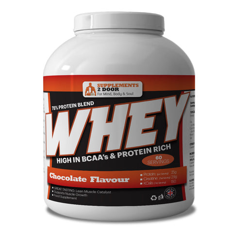 Whey Protein powder 2.25kg 75% Blend - Chocolate - Supplements 2 Door