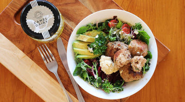 Moroccan Nourish Bowl with Persian Feta stuffed Turkey meatballs