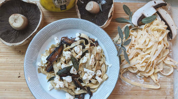 Pasta with Mushroom, Camel Milk Persian Feta in Burnt Butter Sage Sauce