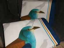 Load image into Gallery viewer, European Roller Blue Bird Antique Print Tea Towel 100% Cotton UK Made