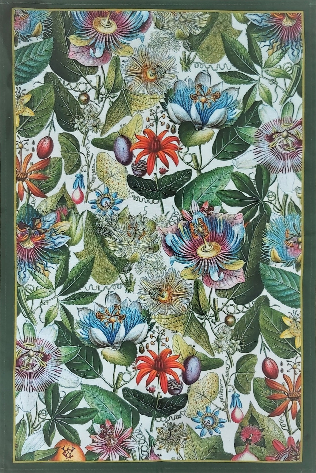 Passionflower Tea Towel Green border