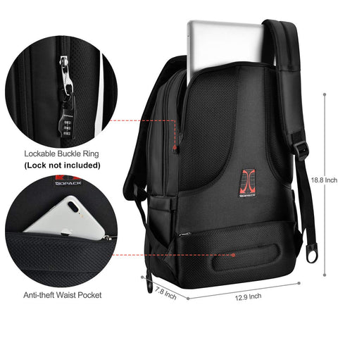 Image of Deluxe Black Water Resistant Laptop Backpack