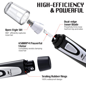 Painless Ear and Nose Hair Trimmer/Clipper - Black