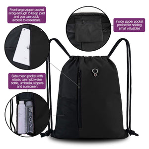 Drawstring Backpack Sports Gym Bag - Black - Large