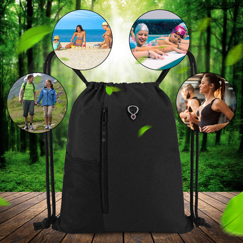 Image of Drawstring Backpack Sports Gym Bag - Black - Large