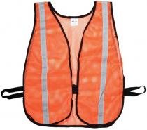 "Orange Soft Mesh Safety Vest - 1"" Silver Reflective"