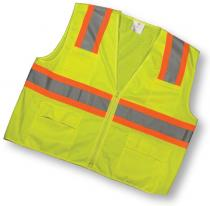 ANSI Class 2 Lime Surveyor Vest With Pouch Pockets