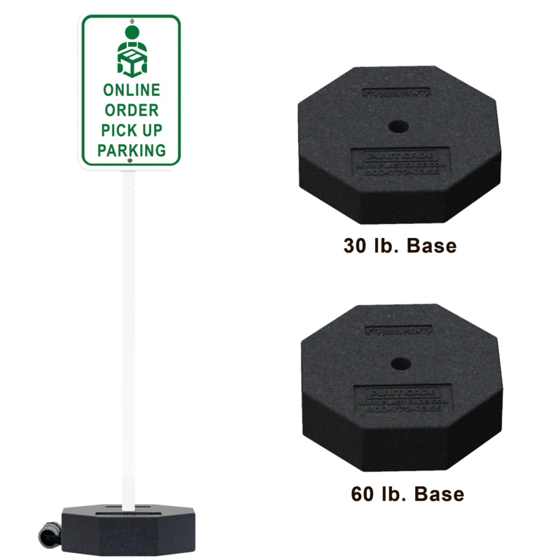 Portable Post with Rubber Base Sign Stand