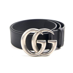 Black Leather Belt Gold / Silver Buckle 40 Mm