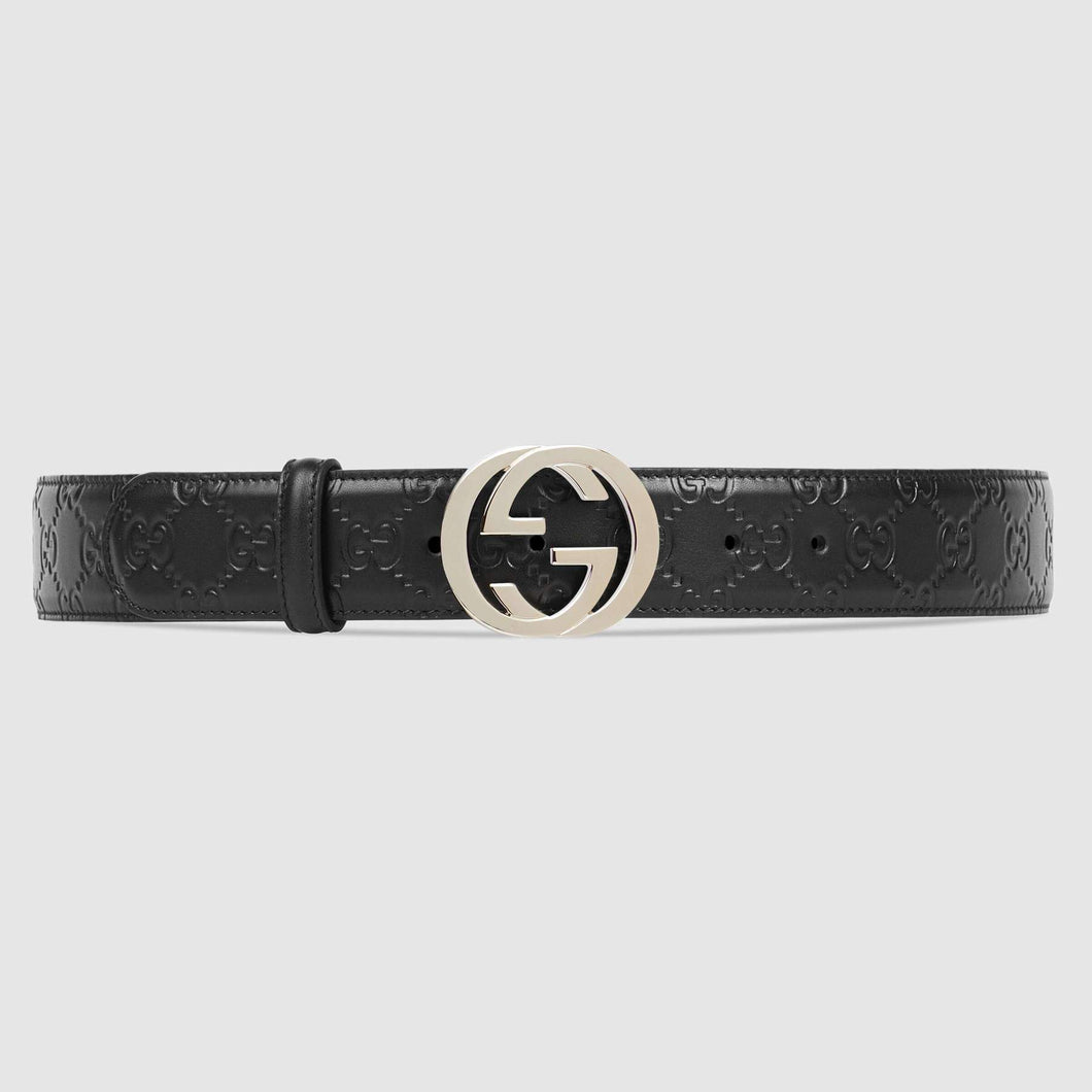 Black Design Leather And Silver Buckle