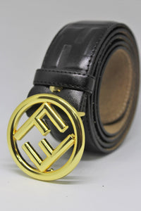 Amazing Black Leather With Gold Buckle Belt