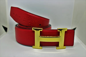 Reversible H Leather Belt Double Color Black & Red