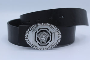 Black Leather, Silver Buckle Amazing Belt