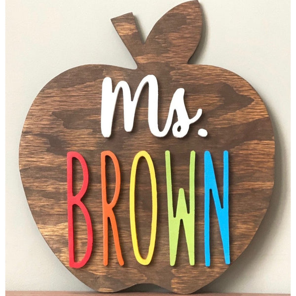 Wood Apple Teacher Sign