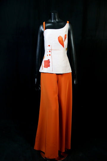 off white and orange top and skirt