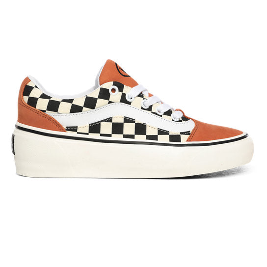 Vans OG Shape NI Wedge Soled Suede Shoes (Checkerboard) - Sunburn / Marshmallow