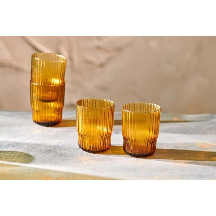 Nkuku Set of 2 Fali Glass Tumbler - Amber