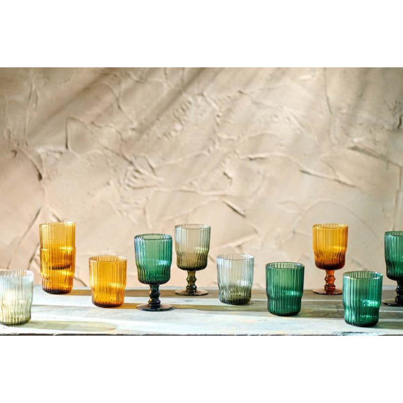 Nkuku Set of 2 Fali Wine Glass - Smoke