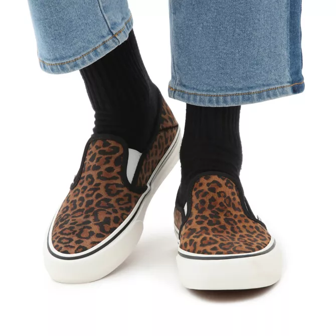 Vans 'Mini Leopard' Suede Slip-On SF Skate Shoes - Chipmunk / Marshmallow