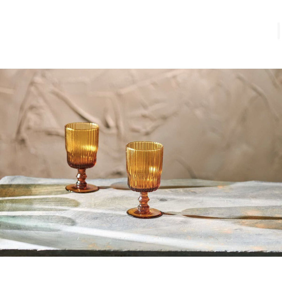 Nkuku Set of 2 Fali Wine Glass - Amber