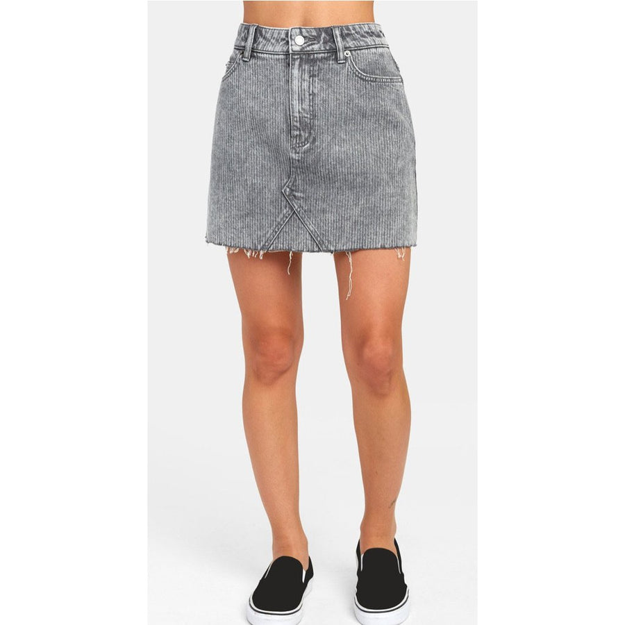RVCA Siena Denim Skirt - Grey Stripe