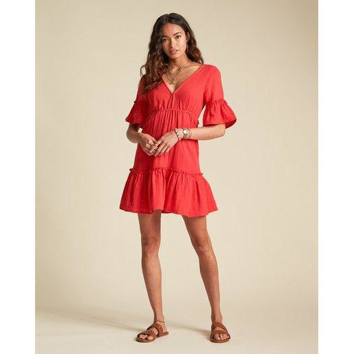 Billabong Lovers Wish - Womens short sleeve mini dress - Rio red