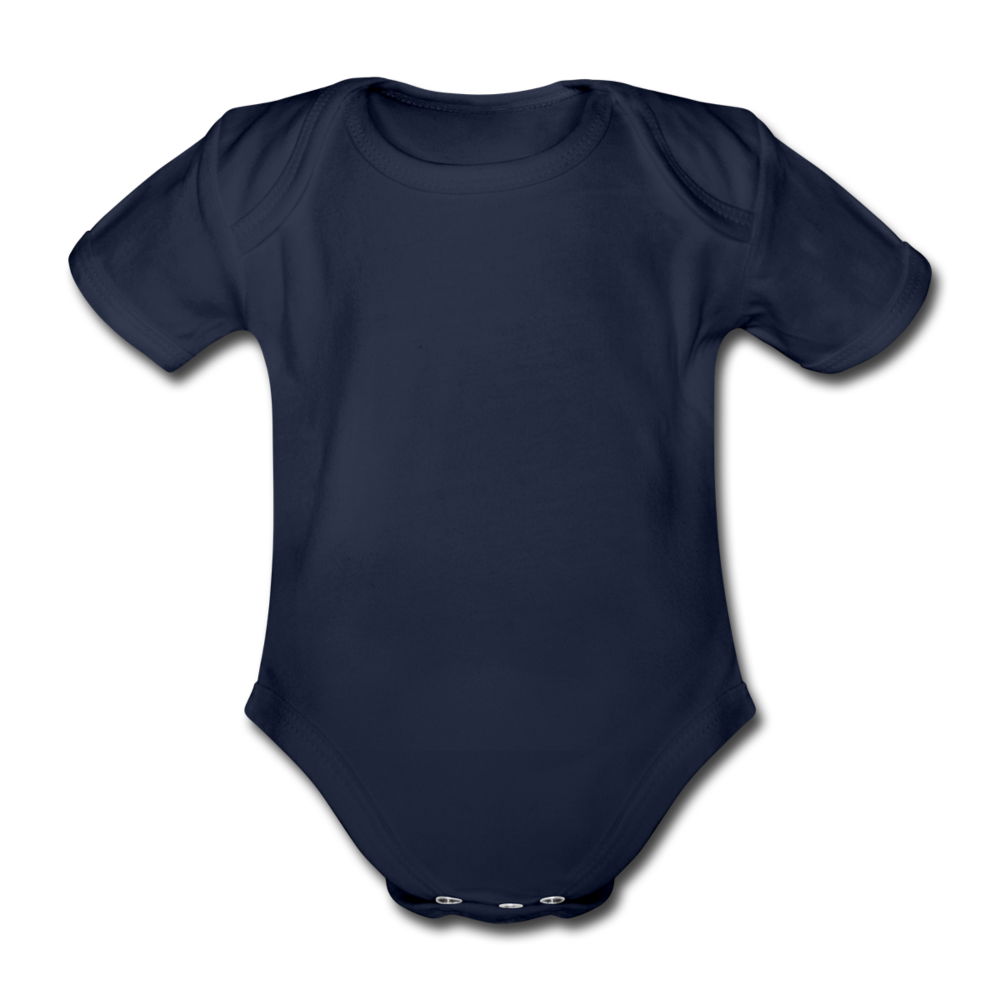 Organic Short-sleeved Baby Bodysuit - dark navy
