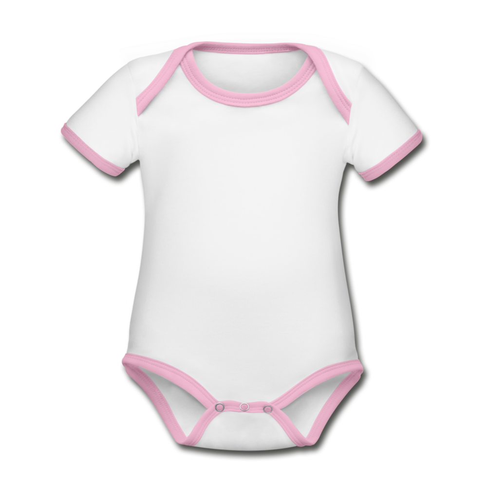 Organic Baby Contrasting Bodysuit - wit/roze