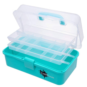 Storage bin includes three layers of storage