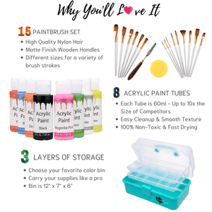 Kids Art Set by PAINTloose | 30-Piece Complete Acrylic Paint Kit