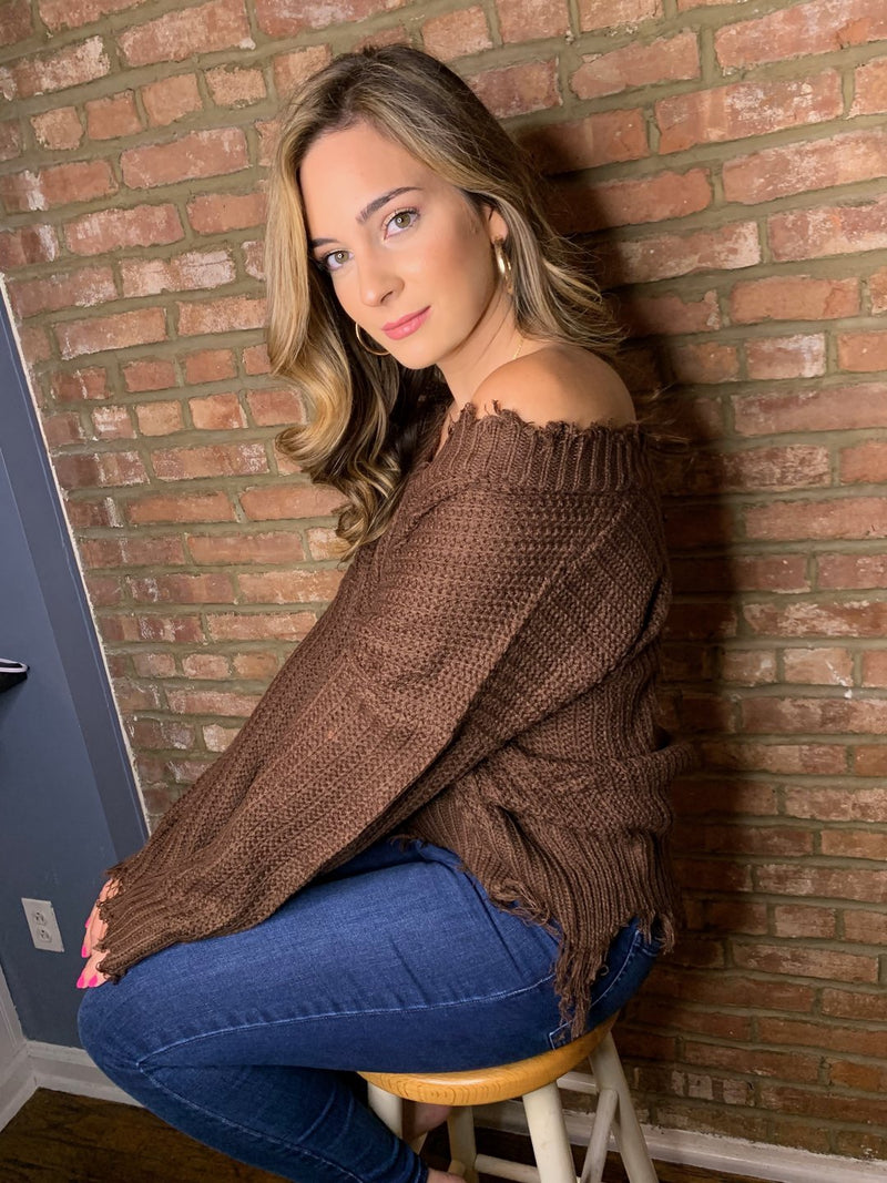 Monroe V Neck Frayed Sweater- Brown