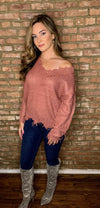 Monroe V Neck Frayed Sweater- Ash Rose