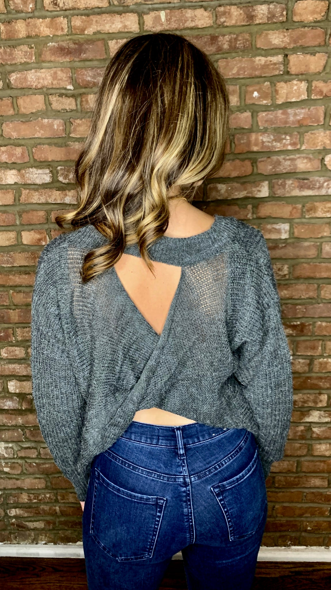 Boken Twist Back Keyhole Sweater- Grey