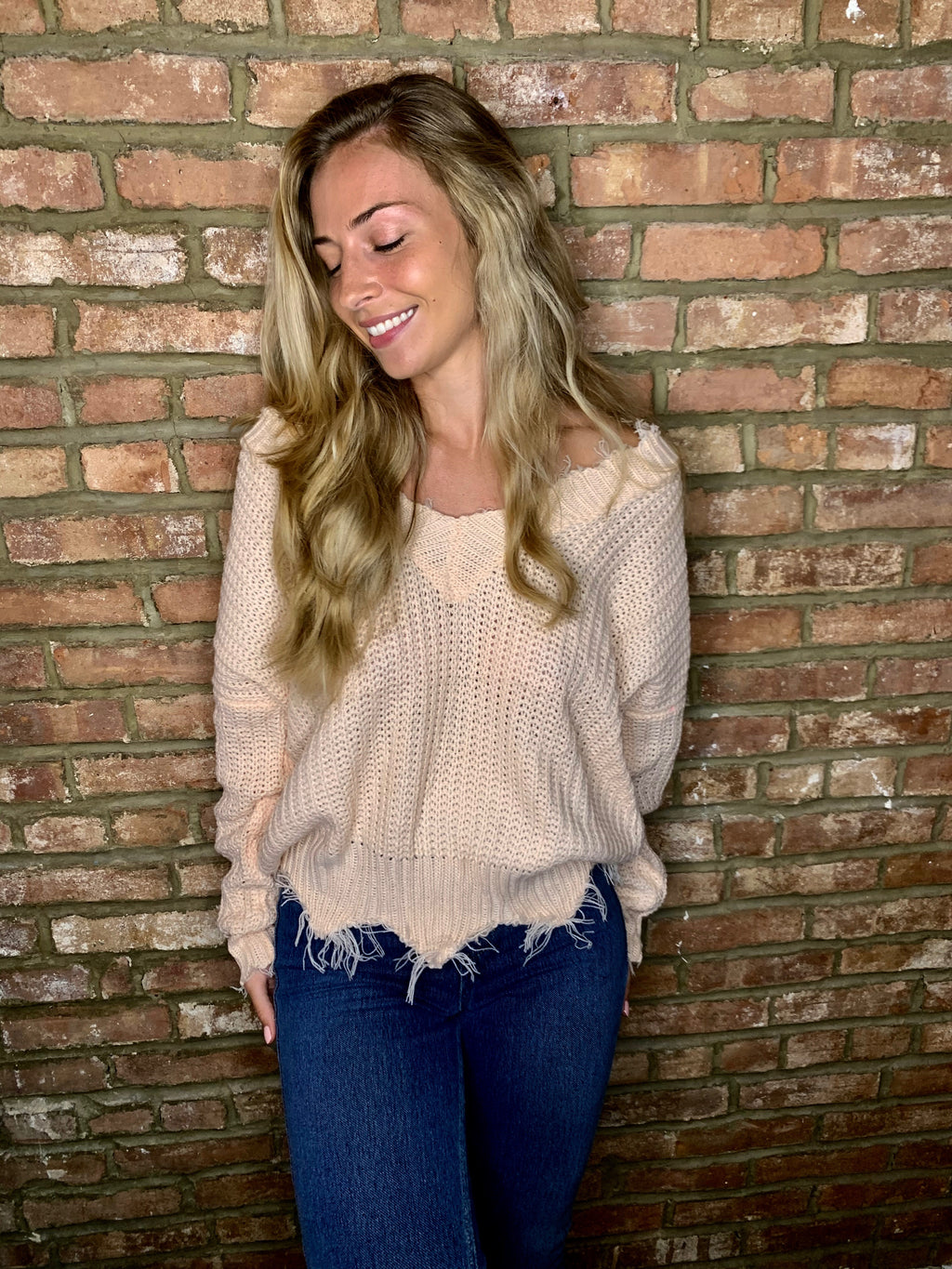 Monroe V Neck Frayed Sweater- Blush