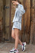 Tie Dye Shorts & Short Sleeve Loungewear Hoodie Set - Dove Grey/Blue