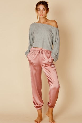 Dusty Rose Satin Pants
