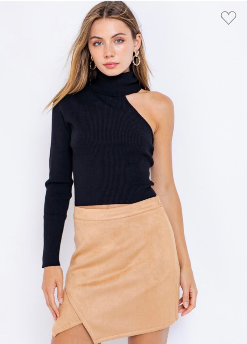 Black Turtleneck One Shoulder Sweater