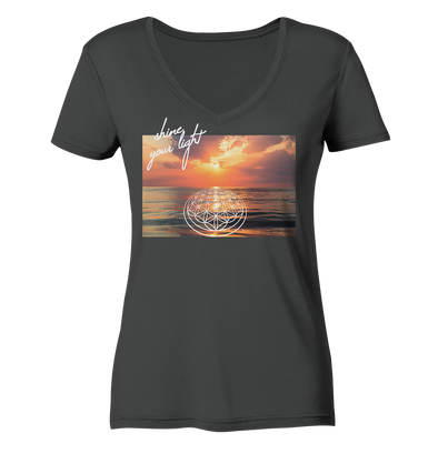 SHINE YOUR LIGHT<br>Ladies Organic V-Neck Shirt