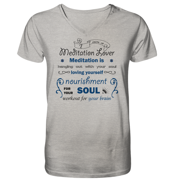 MEDITATION LOVER<br>Mens Organic V-Neck Shirt