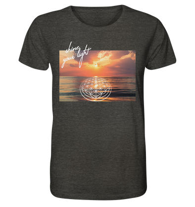 SHINE YOUR LIGHT<br>Organic Shirt (meliert) im lässigen Unisex-Style