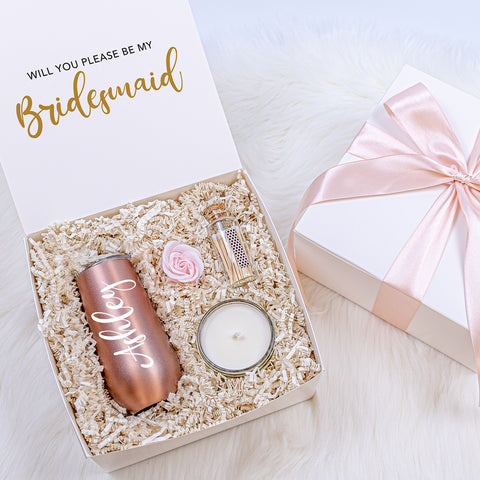 Bows and Ribbons Gift Co. Bridesmaid Proposal Gift Box with Rose Gold Tumbler