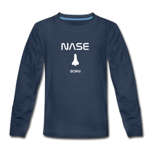 "Lade das Bild in den Galerie-Viewer, Teenagers' Premium Longsleeve ""Nase born"" - Navy"