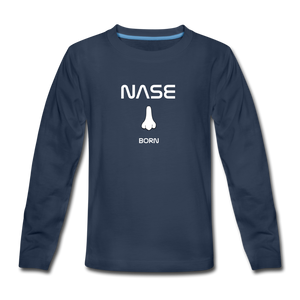 "Teenagers' Premium Longsleeve ""Nase born"" - Navy"