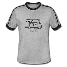 "Lade das Bild in den Galerie-Viewer, Men's Retro T-Shirt ""Stay at home"" - Grau meliert/Schwarz"